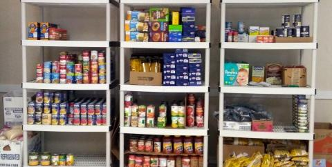 Shelves of Donated Food